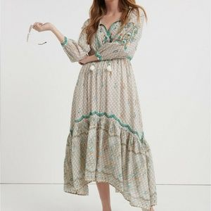 Evelyn Embroidred BOHO Dress Peasant V Neck NWT